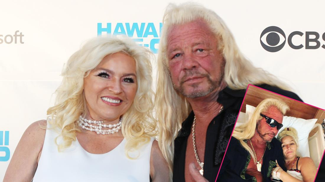 Dog The Bounty Hunter wears a black shirt with a gold necklace; Beth Chapman wears a white dress with pearls. Inset, Beth Chapman and Dog The Bounty Hunter on a hospital bed