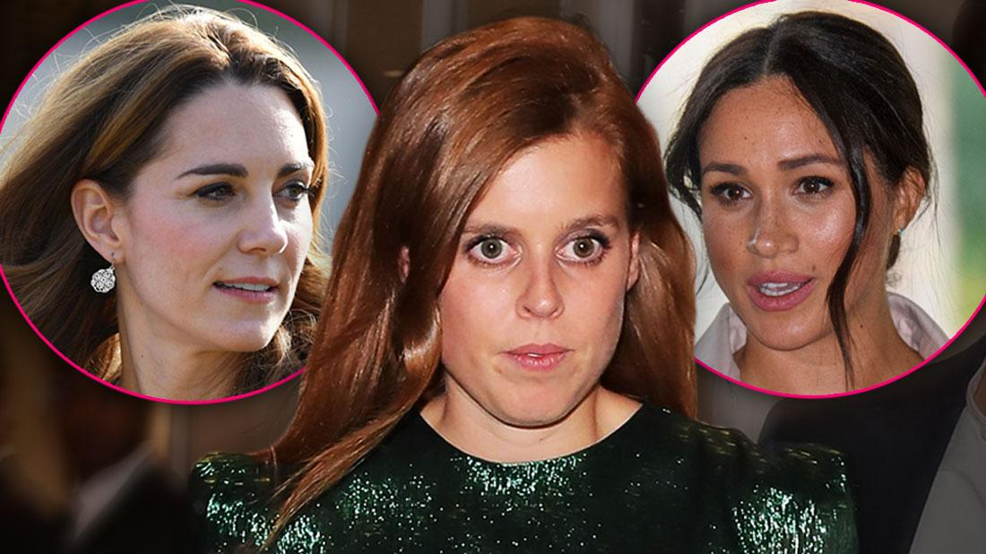 Inset of Kate Middleton, Inset Of Meghan Markle, Princess Beatrice Looking Nervous Wearing Green Sequinned Dress