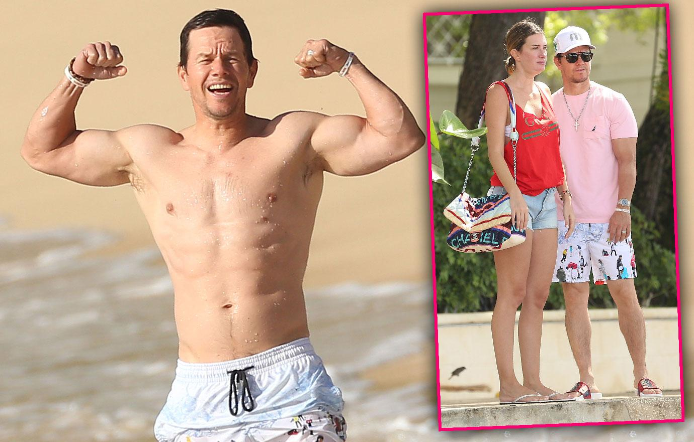 //flexing mark wahlberg and wife show pda pp