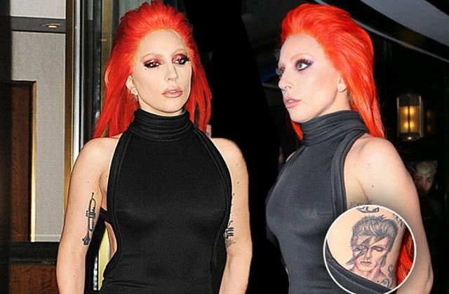 //lady gaga david bowie tattoo side boob pp