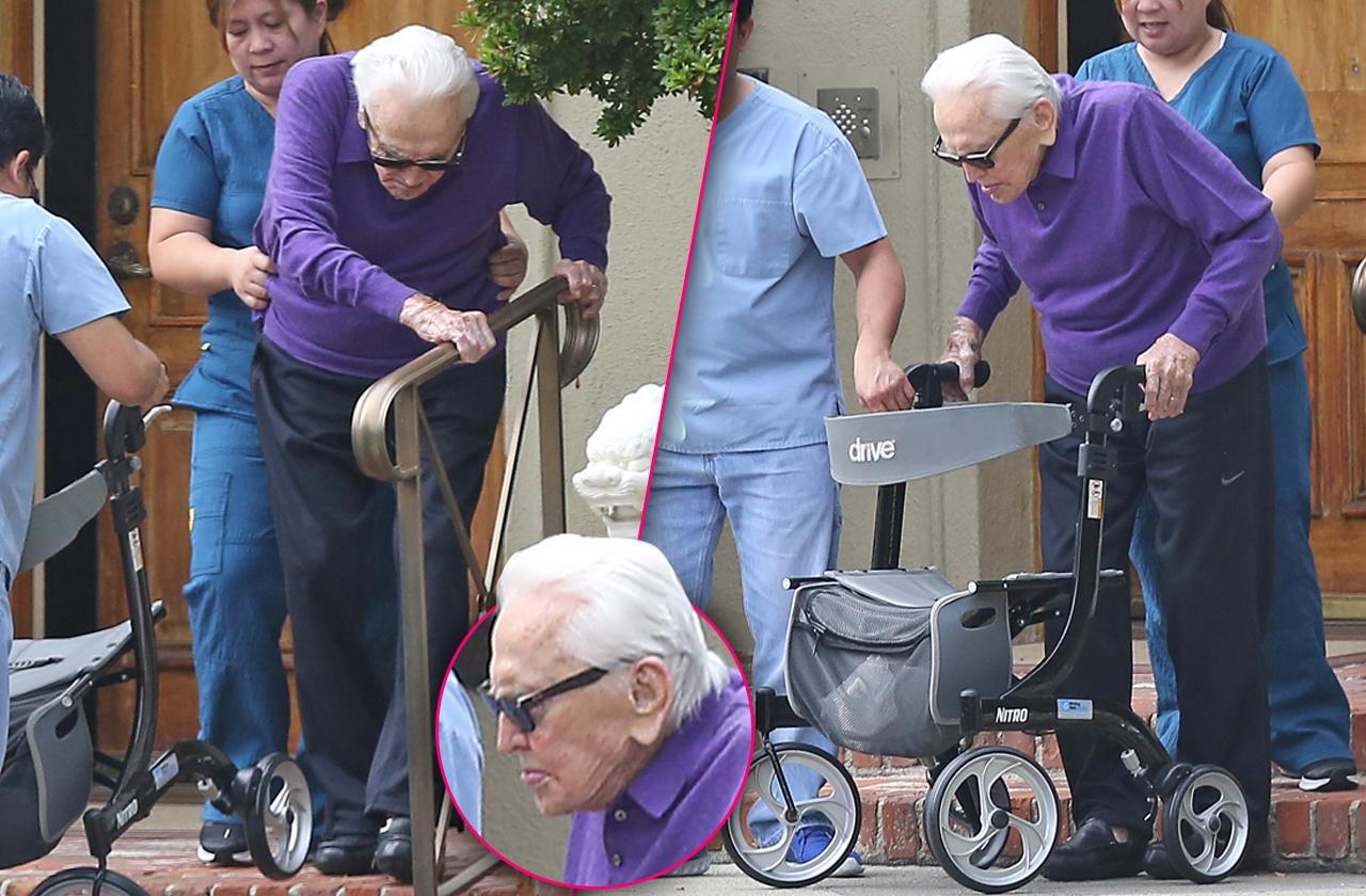 Kirk Douglas – 102-Year-Old Hollywood Legend Goes For A Walk In Beverly Hills