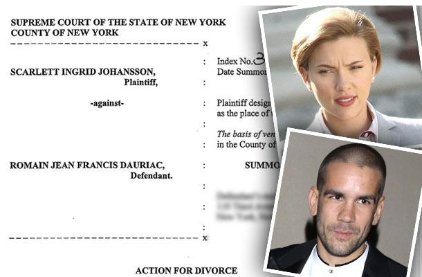 //scarlett johansson divorce romain dauriac documents papers custody battle pp