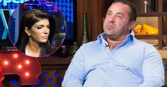 Joe Giudice on WWHL with Andy Cohen wearing a blue shirt. Inset top right, Teresa Giudice.