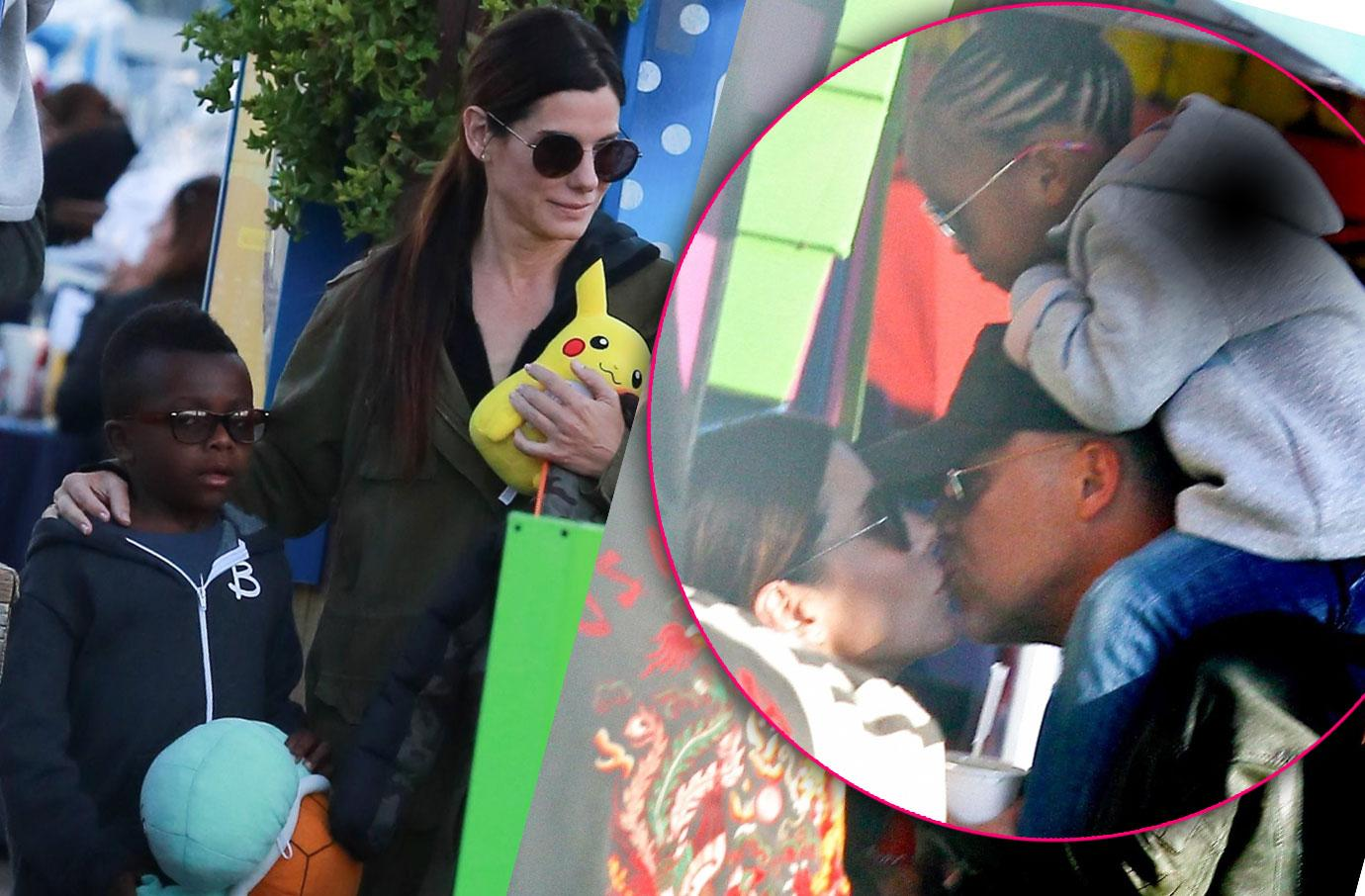 Sandra Bullock Bryan Randall Her Kids Amusement Park Pics