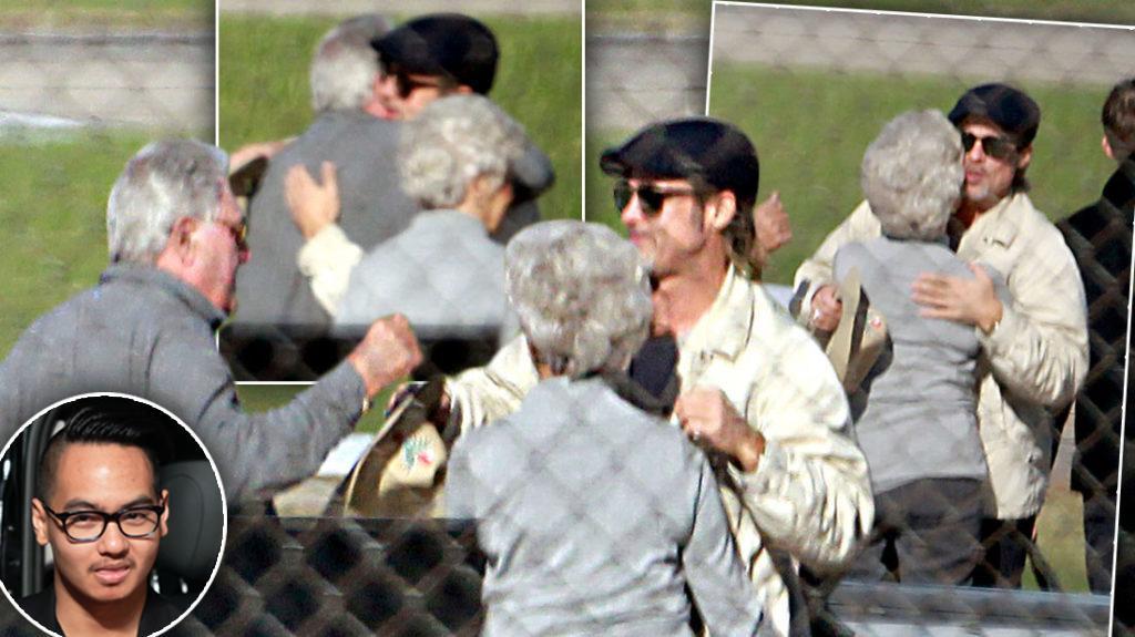 Brad Pitt hugging his parents in Missouri