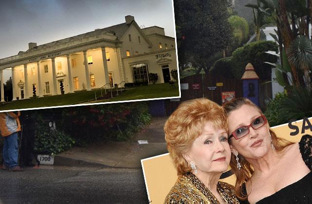 Carrie Fisher Debbie Reynolds Funeral Memorial Beverly Hills Home