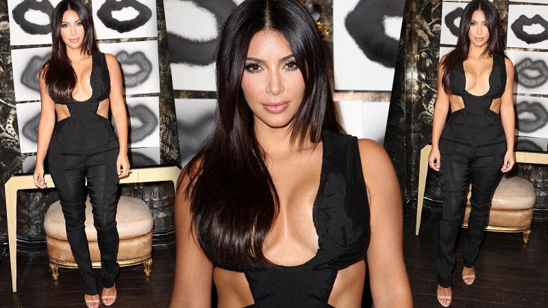 //kim kardashian black jumpsuit wide pp