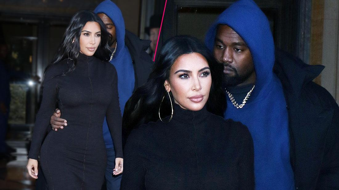Kim Kardashian Covers Up In Turtleneck Dress After Religious Kanye West's New Dress Rules
