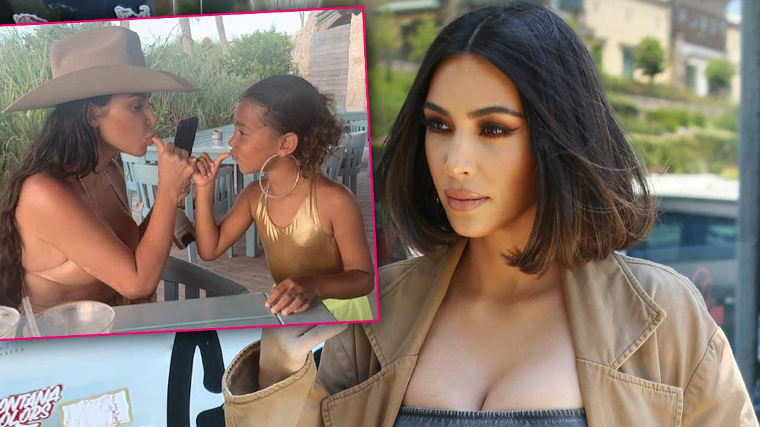 Kim Kardashian Looking Shocked with Inset of Kim with Daughter North West Wearing Large Hoop Earrings