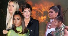 Khloe Kardashian, Kris Jenner, im Kardashian, Kylie Jenner, Stormi Jenner on backdrop of California Wildfire