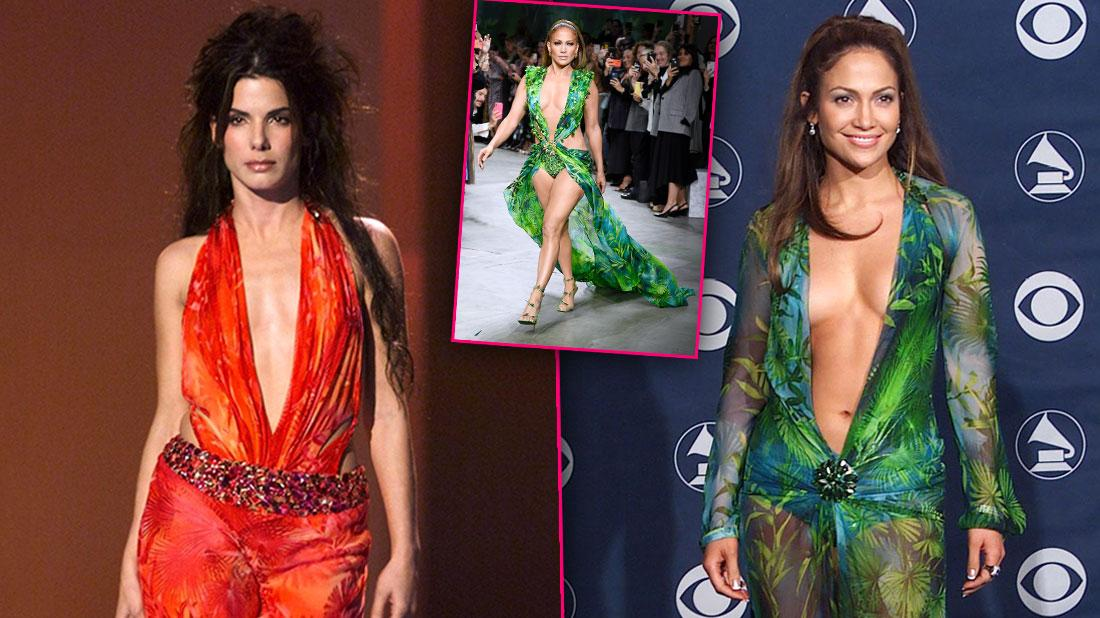 Sandra Bullock Wore Jennifer Lopez's Famous Versace Dress First
