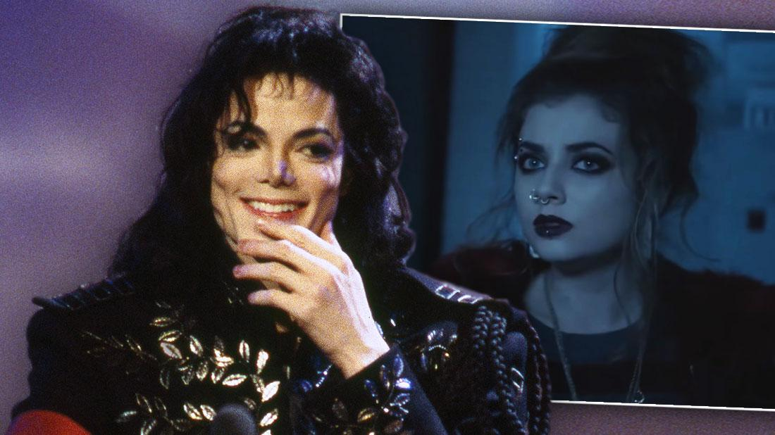 Michael Jackson Smiling With Hand Partially Covering His Mouth Looking Right at Inset Of Paris Jackson in the TV Film Scream Ressurection