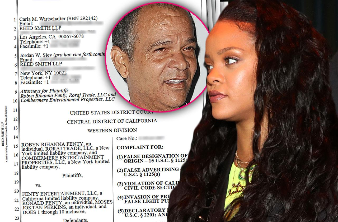 //rihanna sues father ronald fenty exploiting brand shocking court documents pp