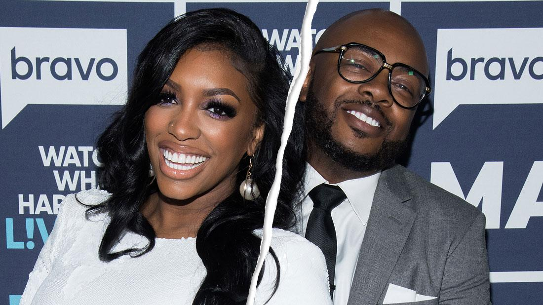 Porsha Williams wears a white dress while her ex-husband Dennis McKinley wears a grey suit, white shirt, and a a black tie