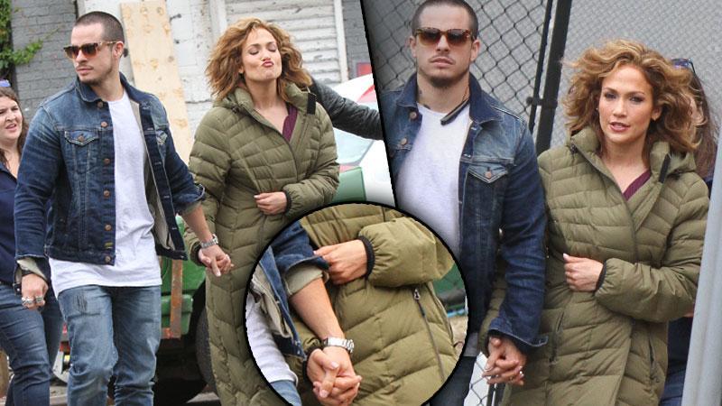 Casper Smart & Jennifer Lopez Dating Blue Set Holding Hands