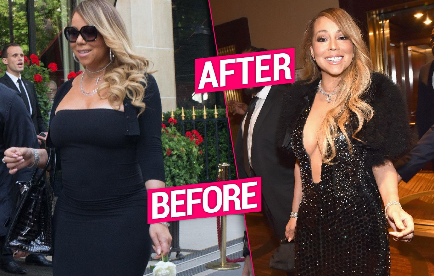 Slimmed Down Mariah Carey Goes Braless Clive Davis Party