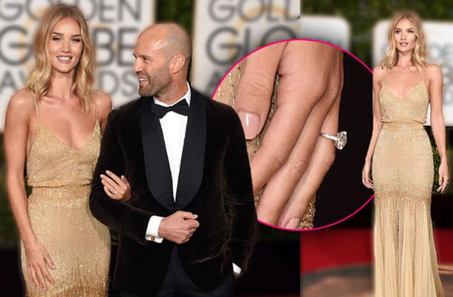 //rosie huntington whiteley jason statham engaged ring golden globes red carpet pp