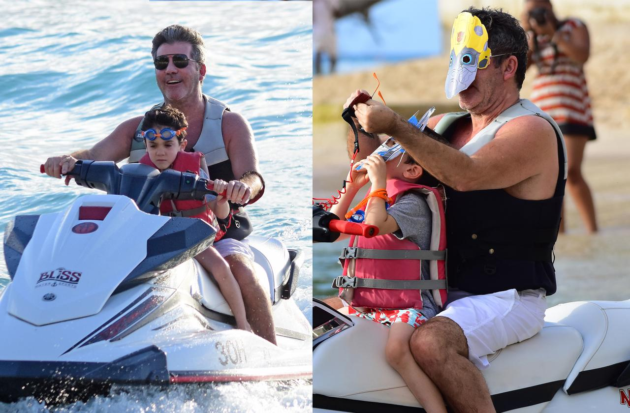 //simon cowell wears transformers mask on jet ski ride with son pp