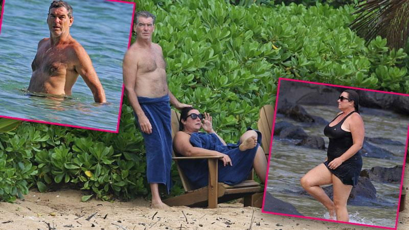 //pierce brosnan shirtless wife keely shaye smith hawaii vacation pp