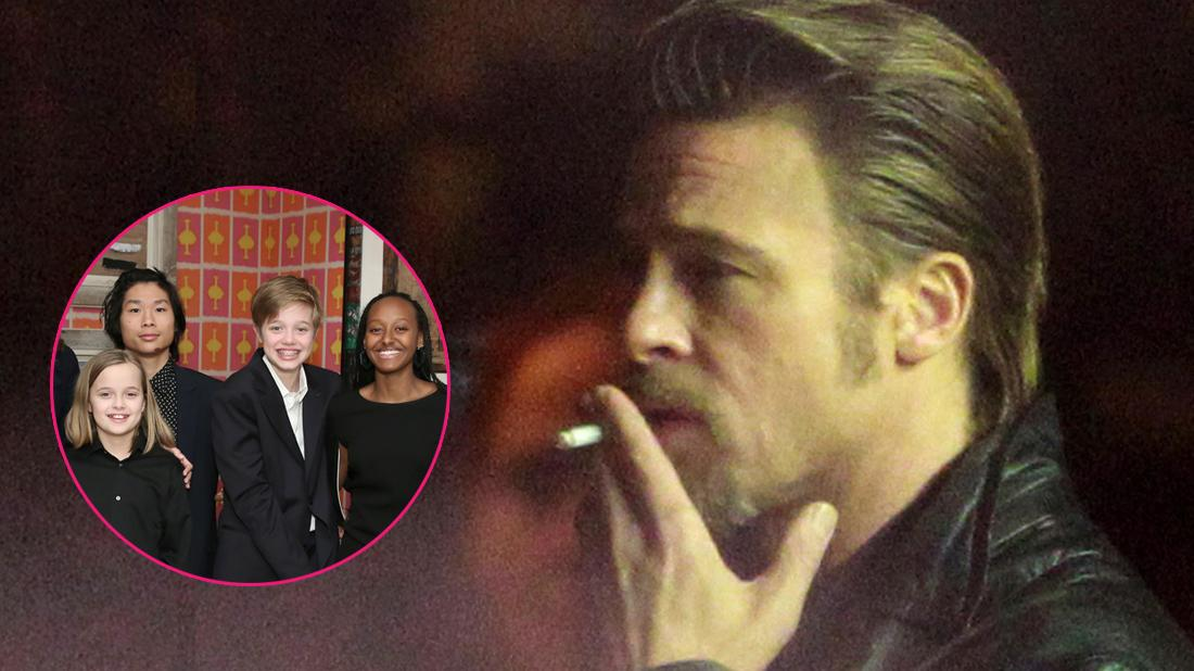 Brad pitt smokes a cigarette. Inset to the left, a group photo of his kids