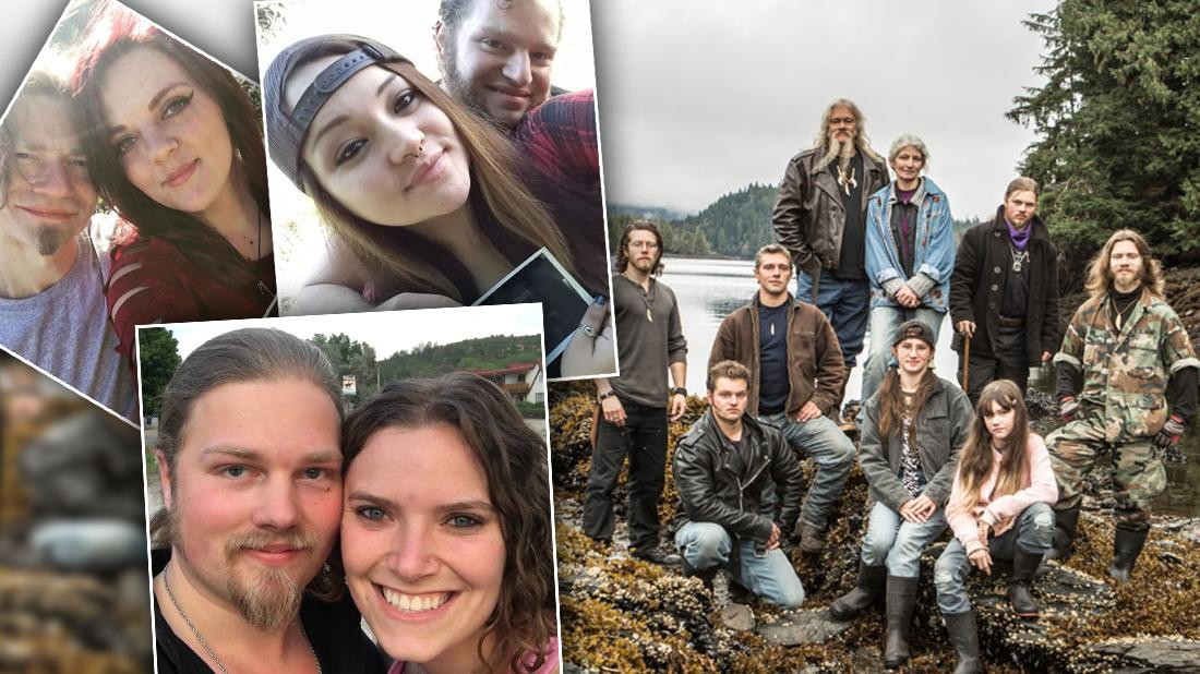 Cast of Alaskan Bush People with Insets of Sons With Their Significant Others