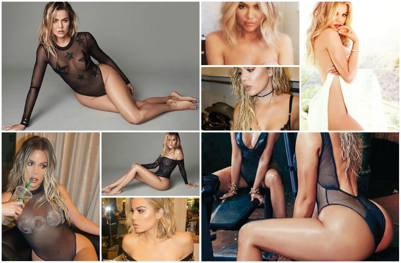 A collage of Khloe Kardashian naked Instagram photos of all time