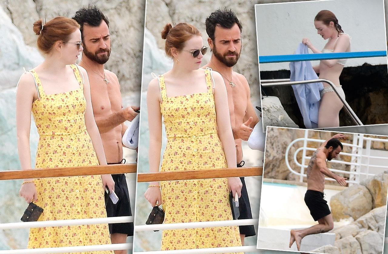 Justin Theroux Shirtless Emma Stone Bikini Vacation