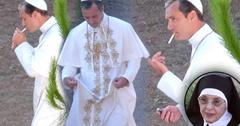//jude law smokes cigarette dressed up as pope pp