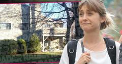 Allison Mack Wearing White shirt and Backpack with Inset of Her Former Home