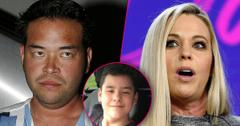 Jon Gosselin Looking Angry With Split of Kate Looking Upset Claims She Mentally Tortured Son Collin Who Is Inset Smiling