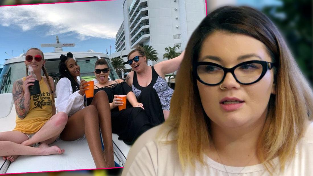 Inset Teen Mom Cast On Boat Main images of Amber Portwood in Whiite T-Shirt