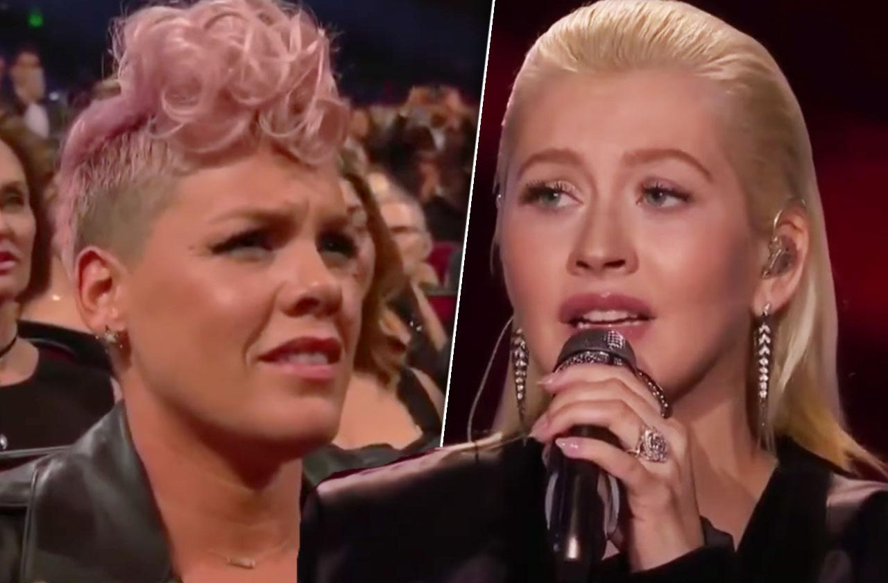 Christina Aguilera Whitney Houston AMA Performance Pink Feud