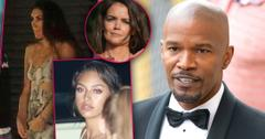 Jamie Foxx in Tux With Insets of Sela Vave and Kristin Grannis with Inset of Upset Katie Holmes