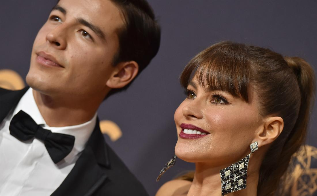 Sofia Vergara and son Manolo Gonzalez Vergara arrived at the 69th Annual Primetime Emmy Awards at Microsoft Theater on September 17, 2017 in Los Angeles, California. (Photo by Axelle/Bauer-Griffin/FilmMagic)