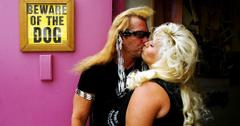 Duane Chapman planted a kiss on his wife, Beth Chapman, in their bounty-hunting office.