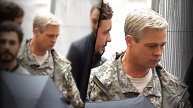 //brad pitt grey hair photos on set war machine movie pp
