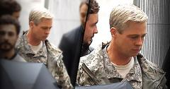 //brad pitt grey hair photos on set war machine movie pp