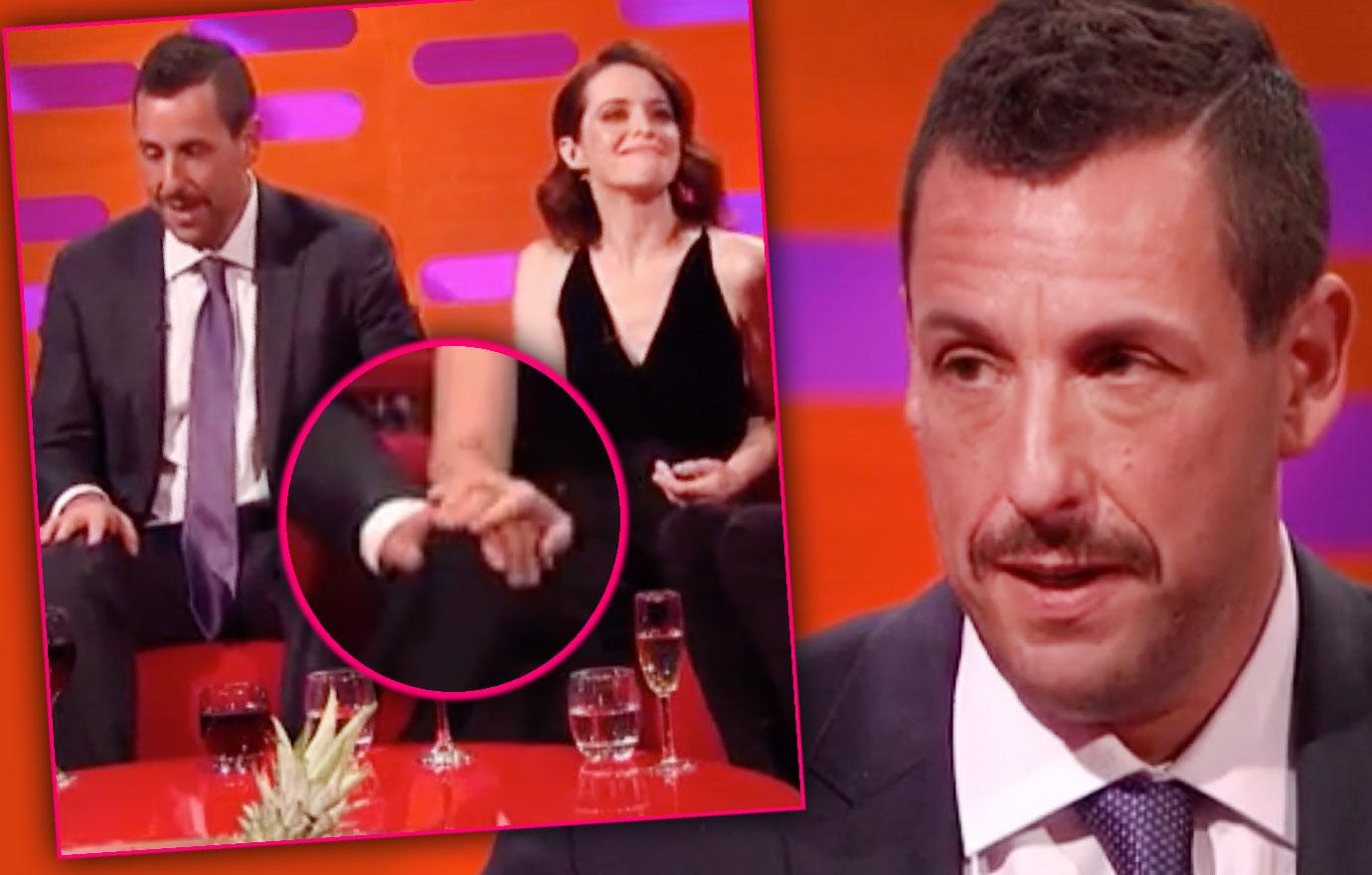//adam sandler touches claire foy twitter slams pp