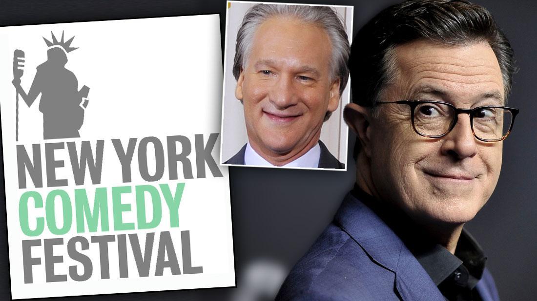 New York Comedy Festival Logo, Stephen Colbert Wearing Eye Glasses, Black Shirt and Blue Blazer Inset Bill Mahr Smiling Wearing White SHirt