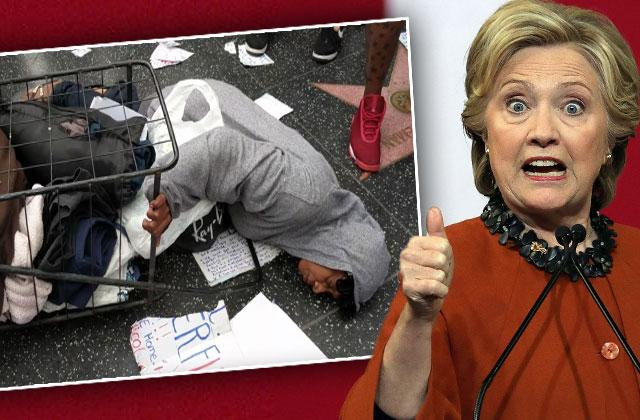 Trump Hollywood Star Homeless Woman Attacked Hillary Clinton Supporters Video