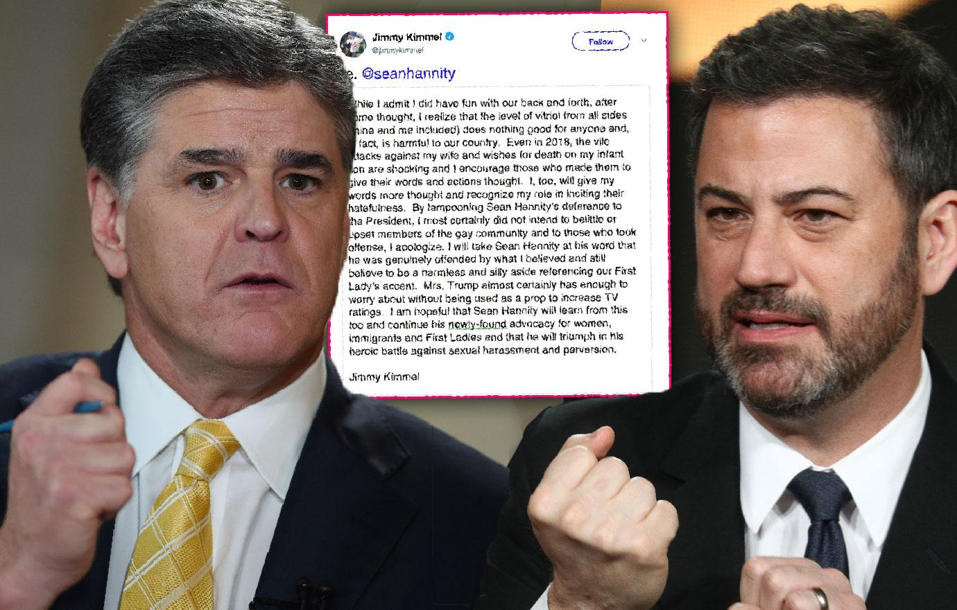 Jimmy Kimmel Caves To Sean Hannity Ends Twitter Feud Over Melania Trump