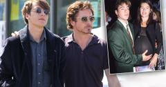 Robert Downey Jr. and Son Indio Walking With Arms Around Eachother with Inset of Deborah Falconer