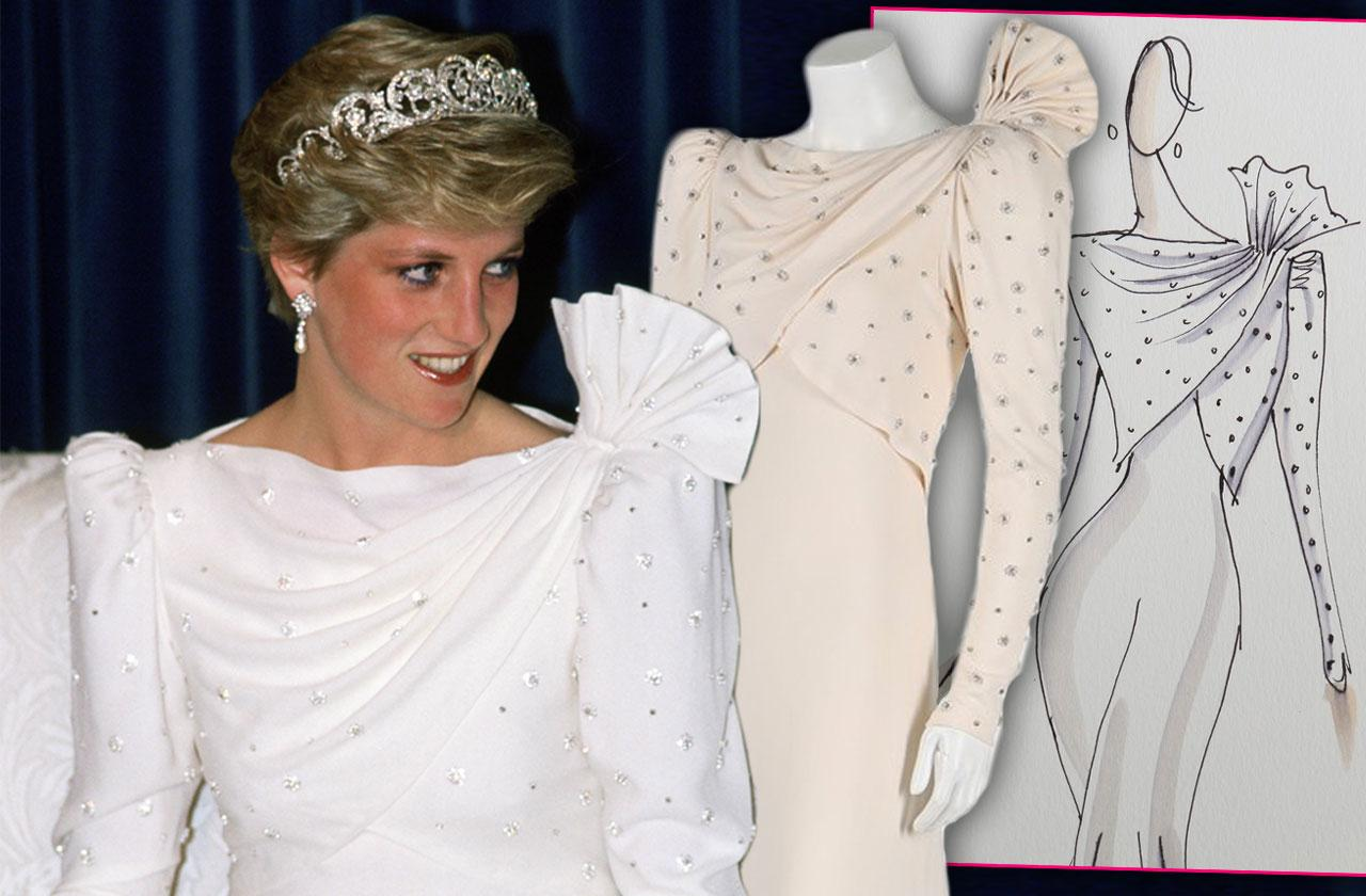 //Princess Diana White Dress Sold Auction pp