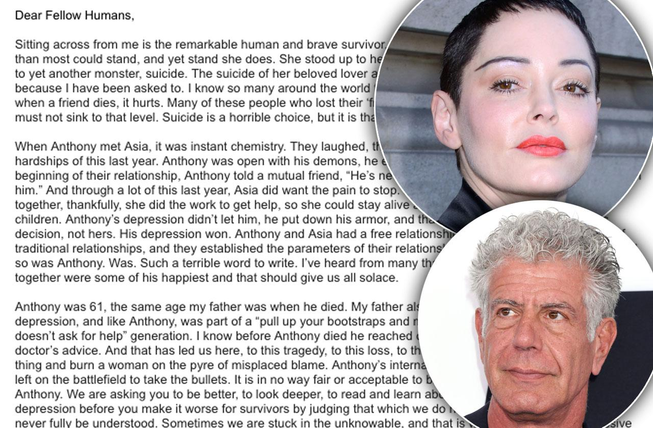 Rose McGowan Anthony Bourdain Suicide Claims