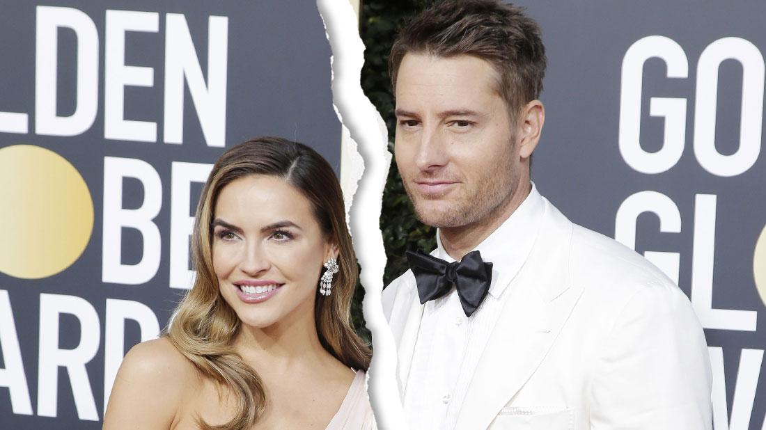 Justin Hartley (R) Wearing White Tux, White Shirt and Black Bow-tie and Chrishell Stause Wearing Pale Pink One Shoulder Gown arrive for the 76th annual Golden Globe Awards ceremony at the Beverly Hilton Hotel