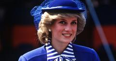 Smiling Princess Diana Wearing Rioyal Bllue Suit With Matching Hat and Blue And White STriped Blouse