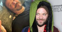 Inset of Bam Margera Laying On His Back Wearing Black T-Shirt,Bam in 2013 Wearing Hat , Green scarf and Multi Colored Jacket and Hoody