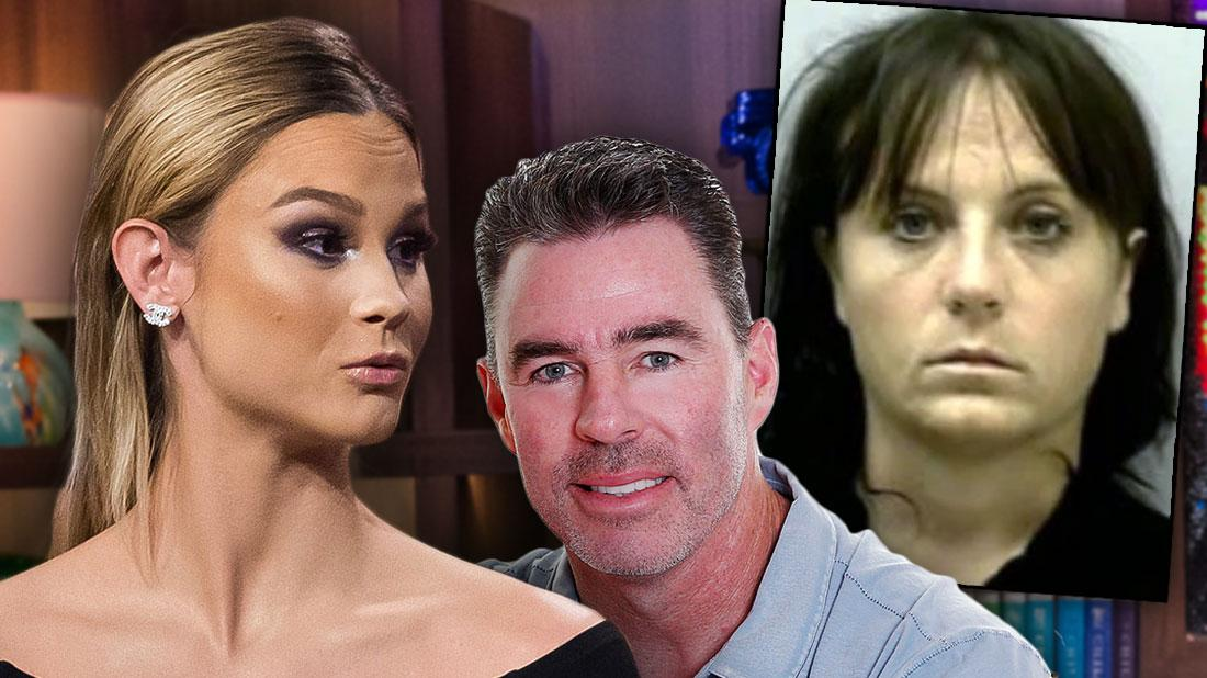 Meghan Edmonds Black Off The Shoulder Top overlapping photo of Jim Edmonds In a Blue Shirt With Inset of Mistress Mugshot