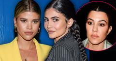 Sofia Richie Wearing Yello Suit And Kylie Jenner Wearing Black And Grey Pinstripe Suit With an Inset Of Kourtney Kardashian Looking At Them