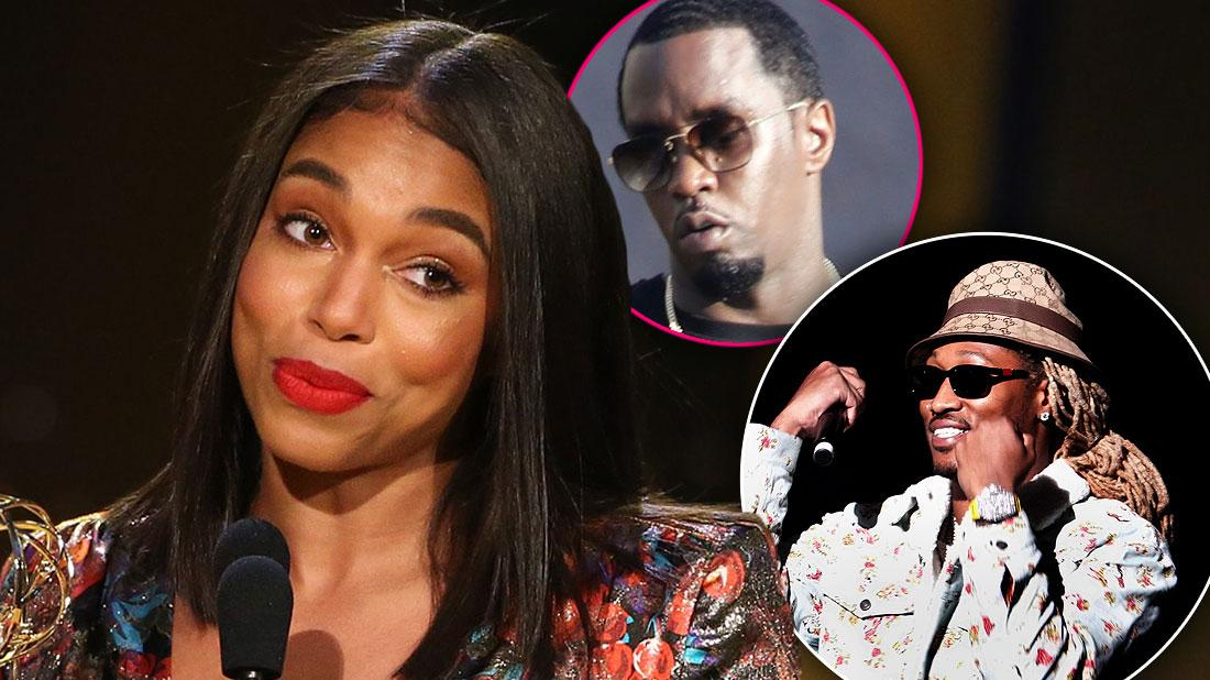 Lori Harvey smirking plus inset of Future looking happy and Diddy looking serious